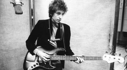 Foto de Bob Dylan de joven en blanco y negro