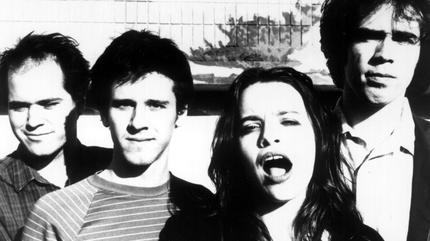 Foto en blanco y negro de Superchunk en los 90