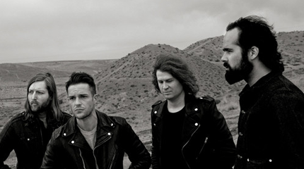 Foto en blanco y negro de The Killers