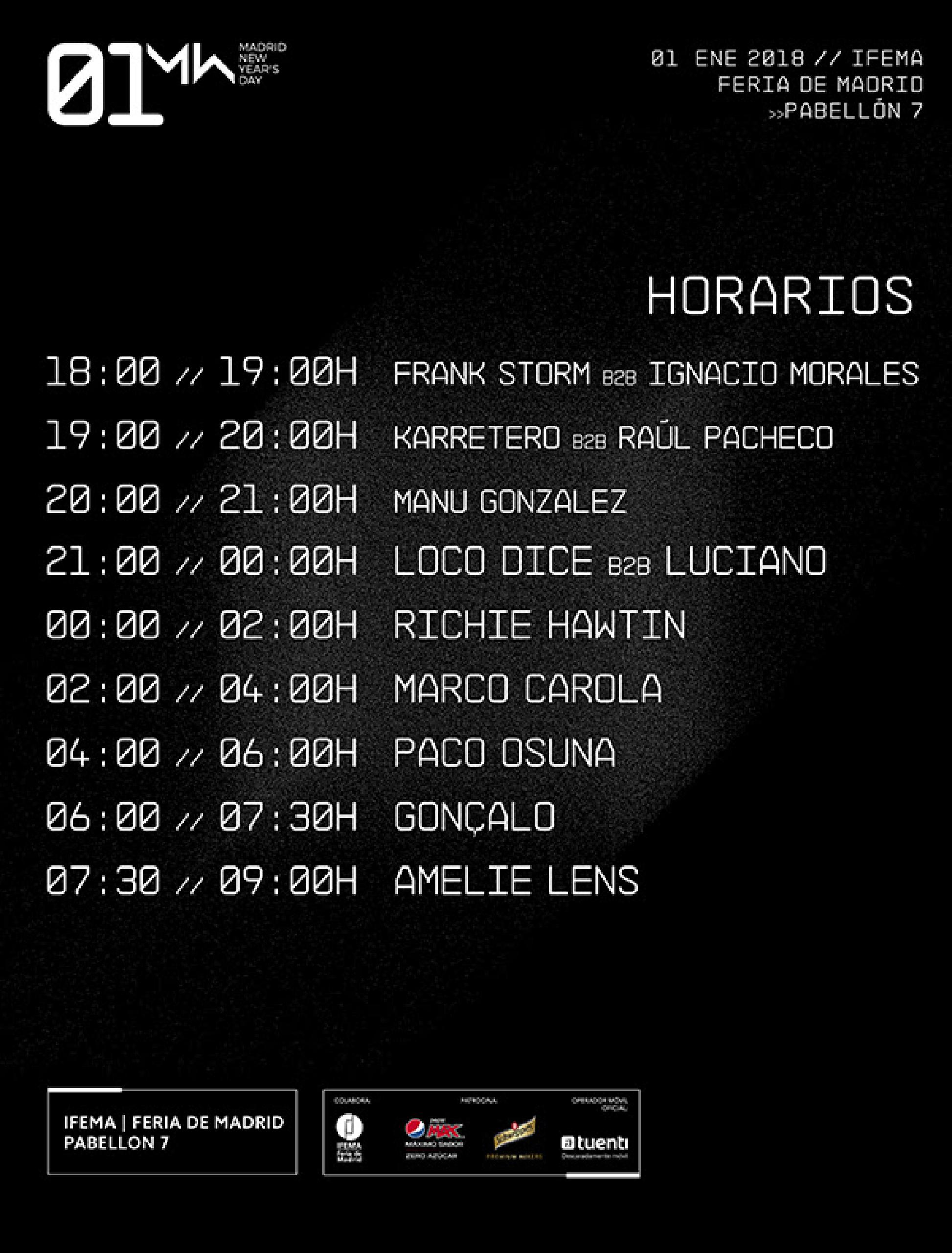Horarios 01 New Year's Day 2018