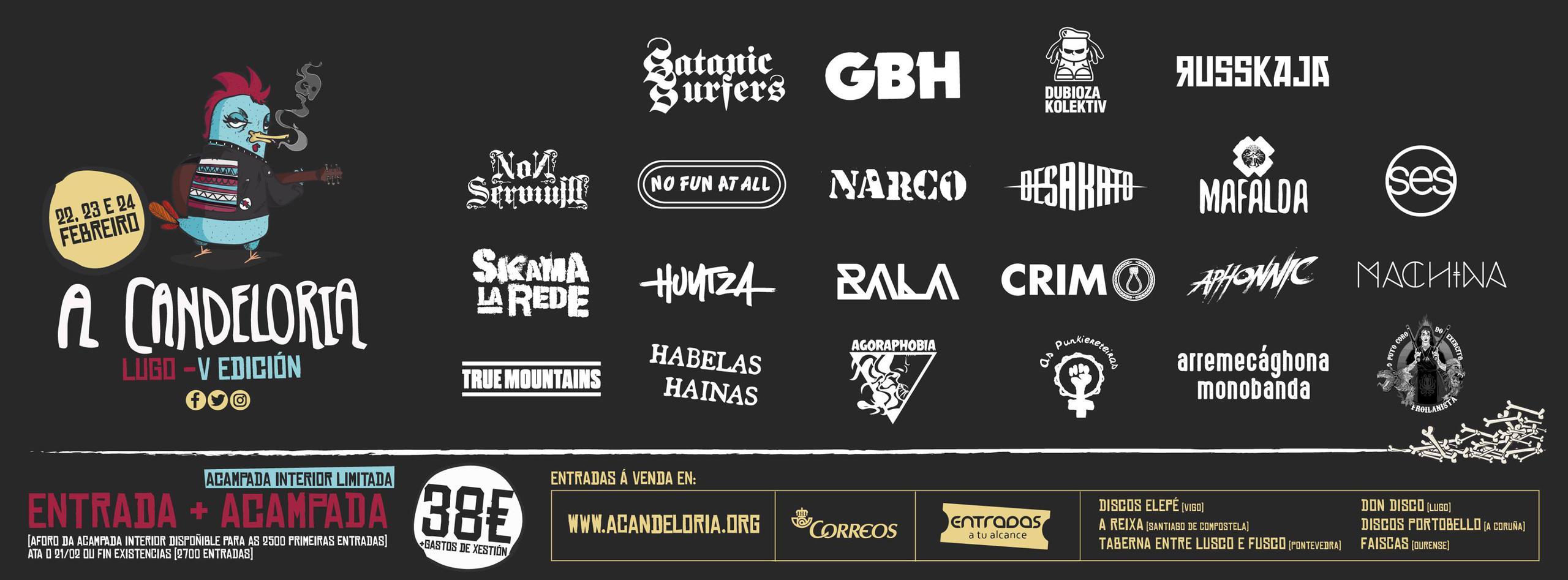 Cartel completo festival A Candeloria 2018 Lugo