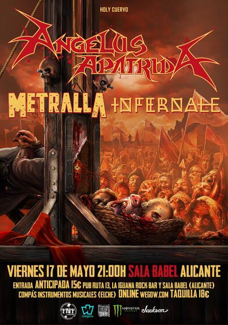 Cartel Angelus Apatrida + Metralla + Infernale en Alicante.
