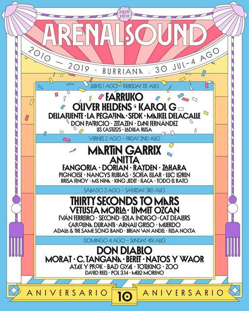 Confirmaciones cartel por días Arenal Sound 2019