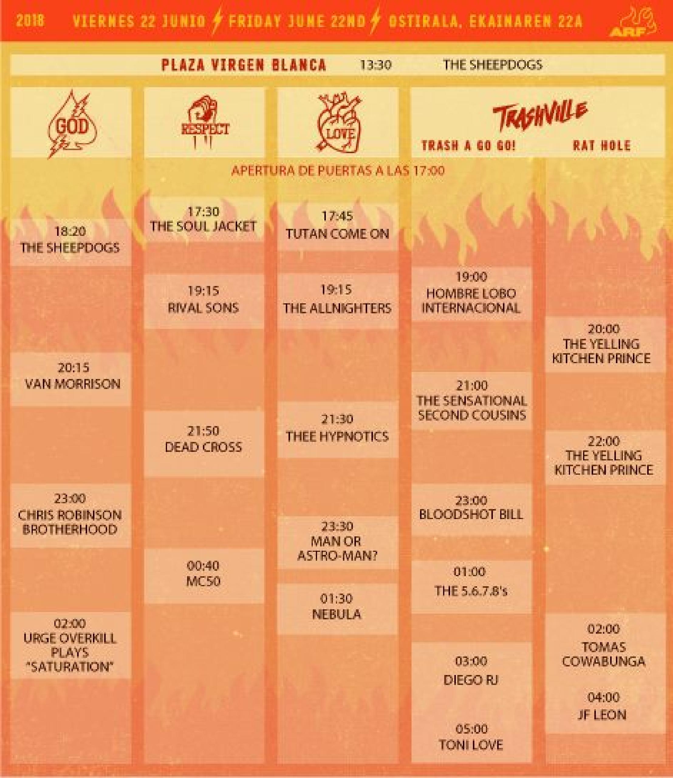 Horarios Azkena Rock 2018 viernes