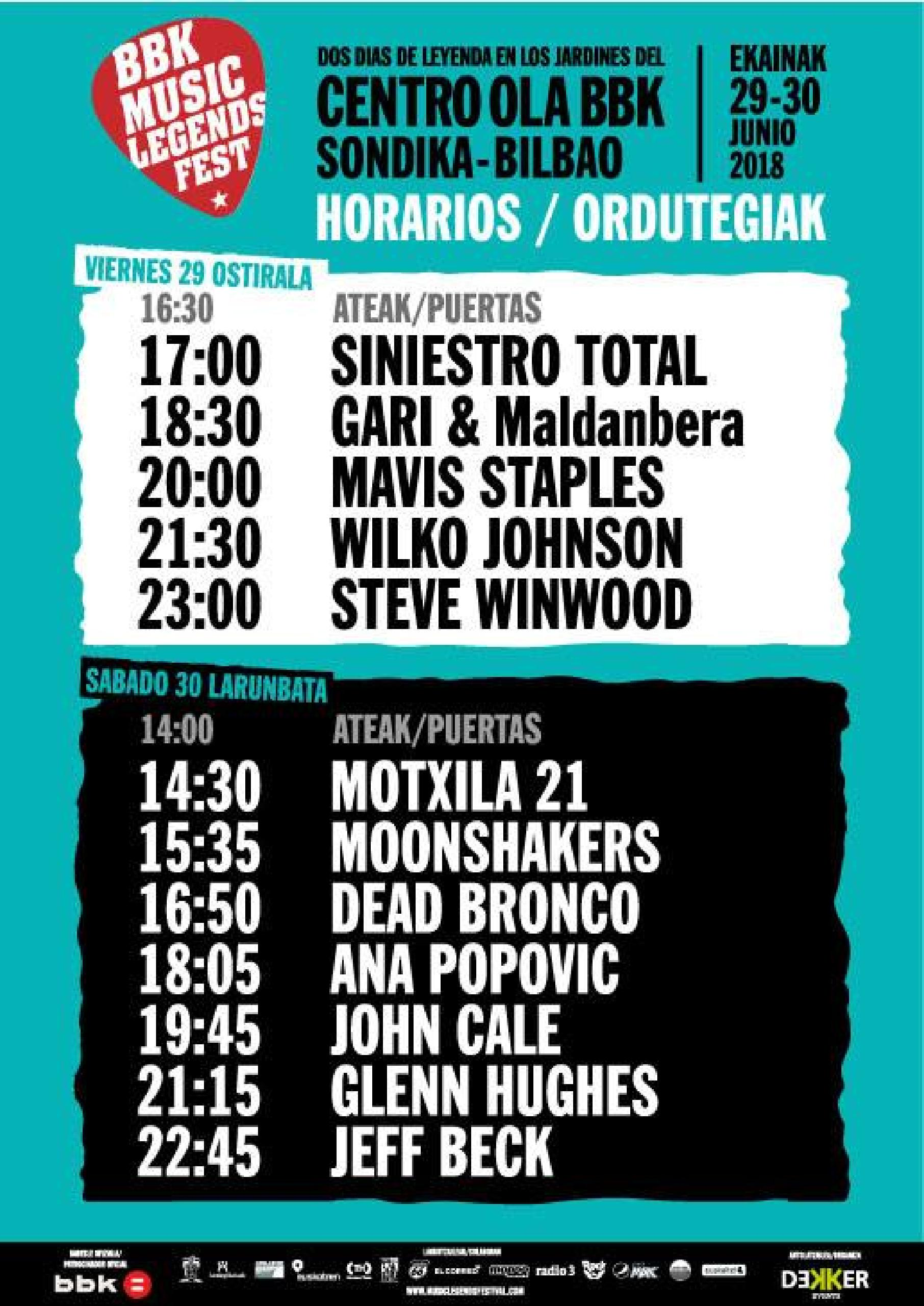 Horarios BBK Music Legends 2018