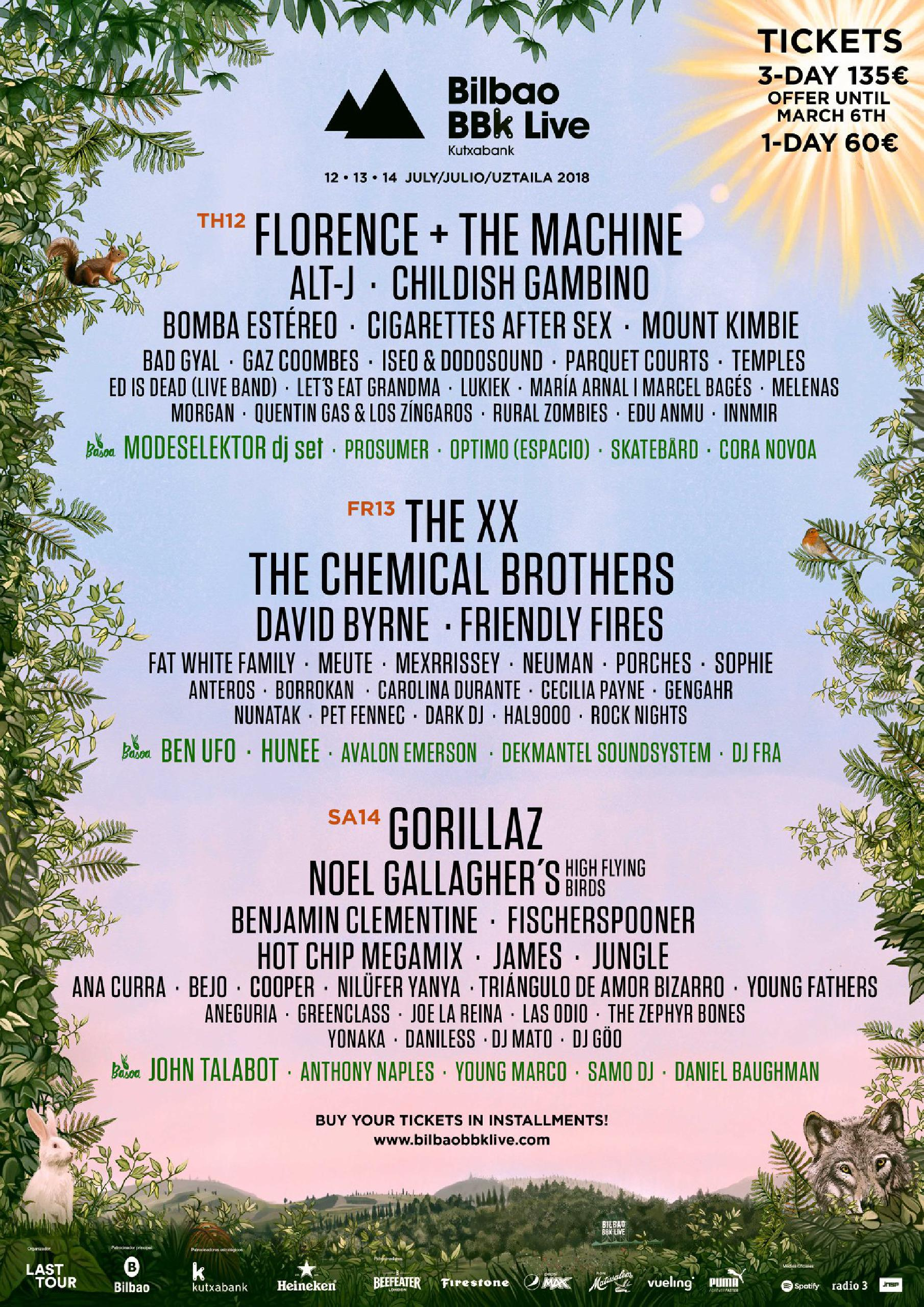 Cartel por días BBK Live 2018: Florence + The MAchine, Alt-J, Childish Gambino, The XX, The Chemical Brothers, David Byrne, Gorillaz, Noel Gallagher, Benjamin Clementine