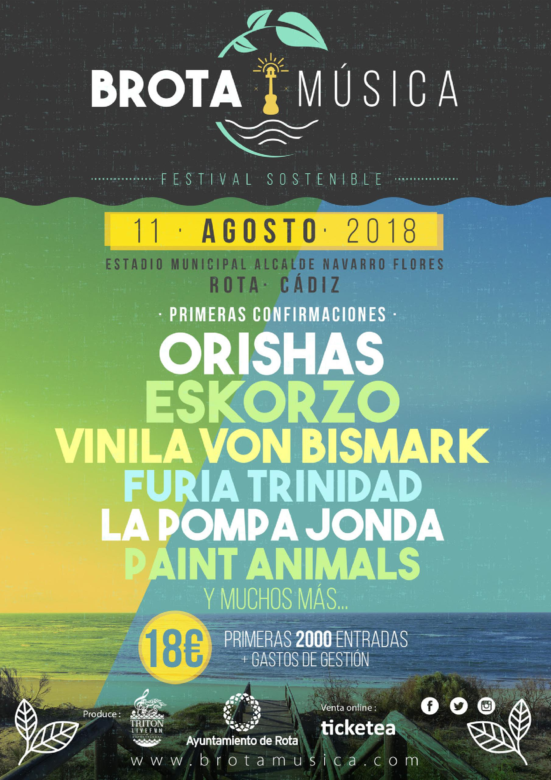 Cartel primeras confirmaciones festival Brota Música 2018