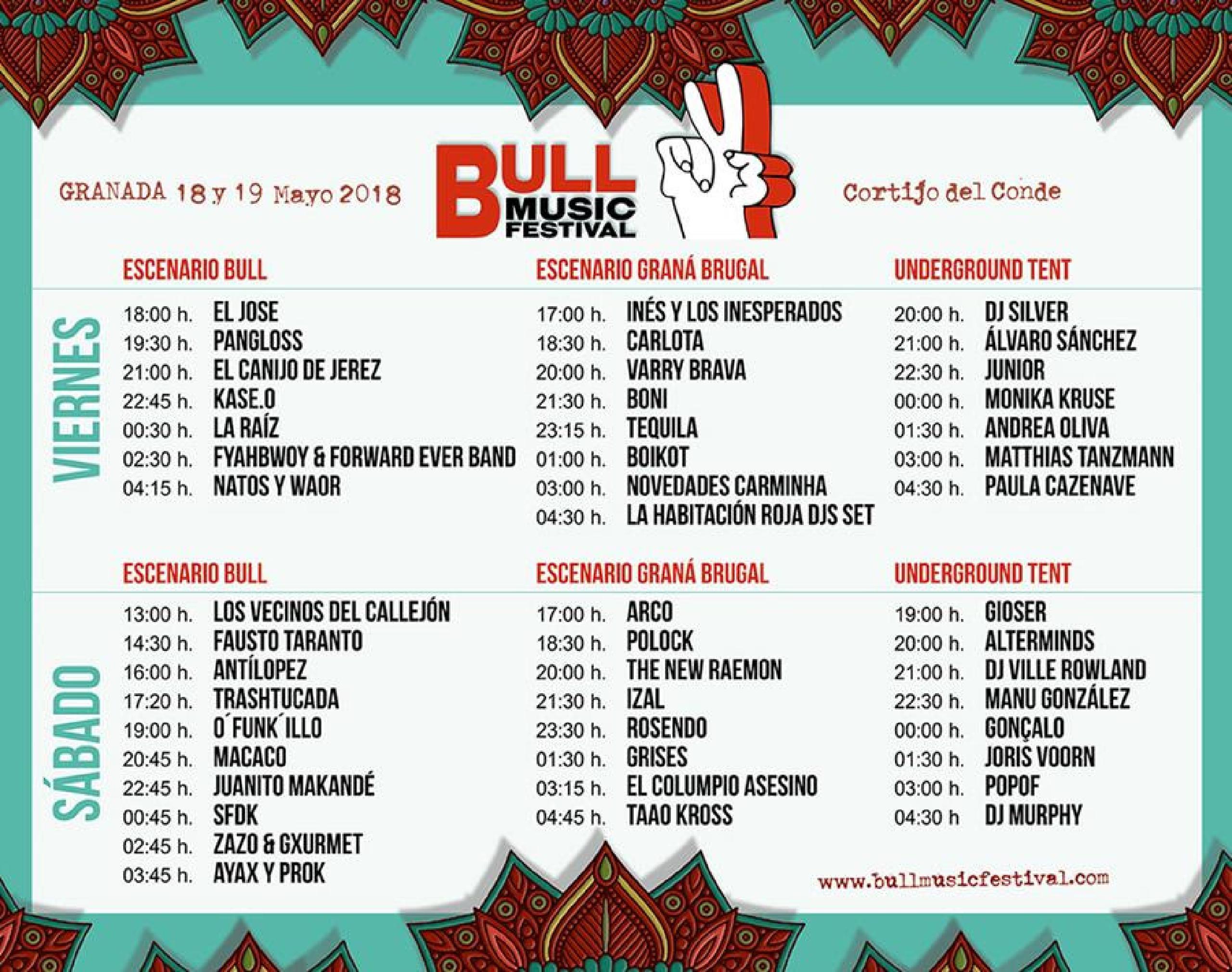 Horarios Bull Music Festival 2018