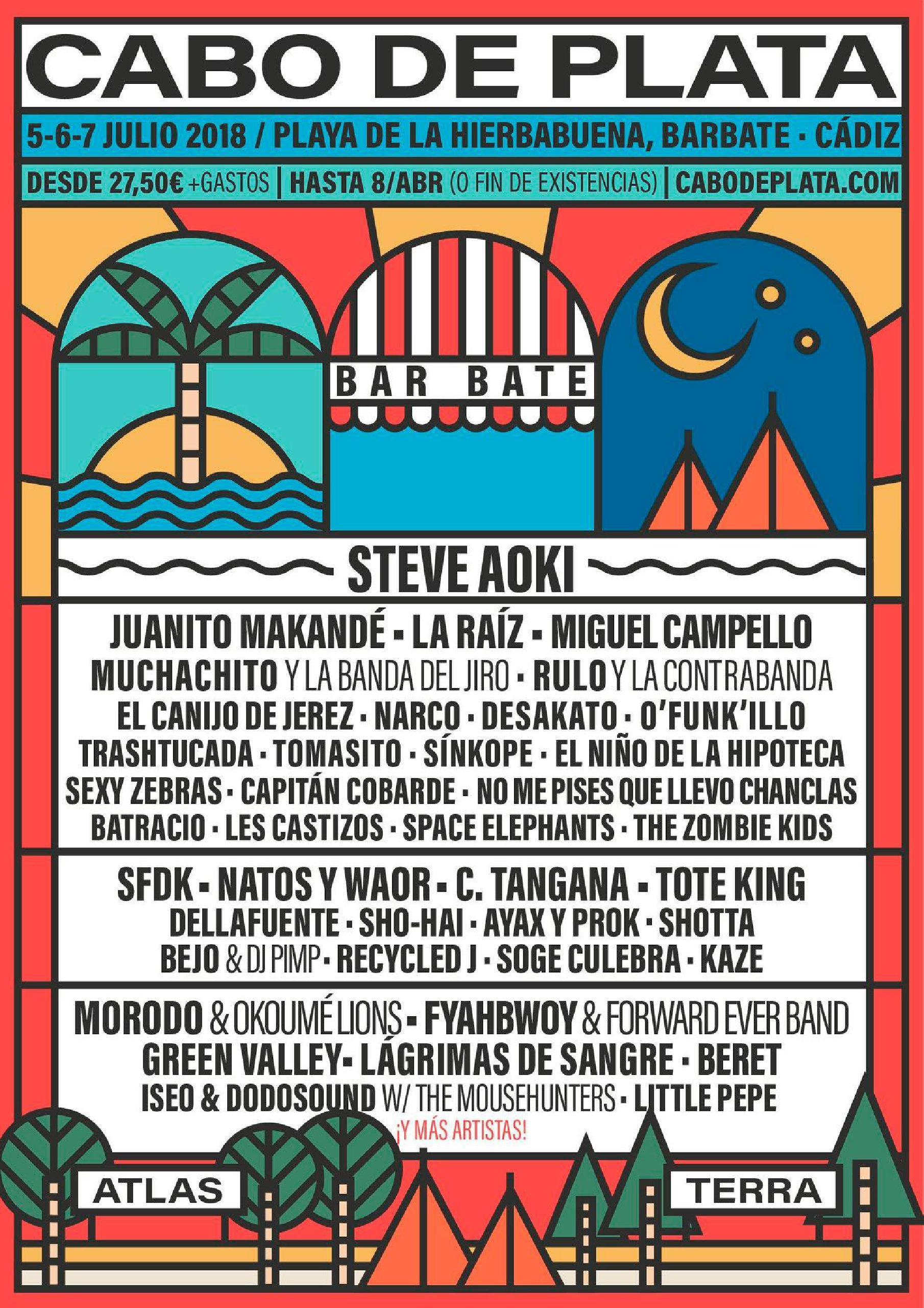 Cartel Primeras confirmaciones festival Cabo de Plata 201