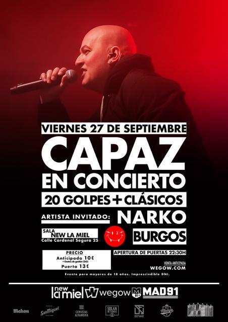 Capaz en Burgos. Sala New La Miel.