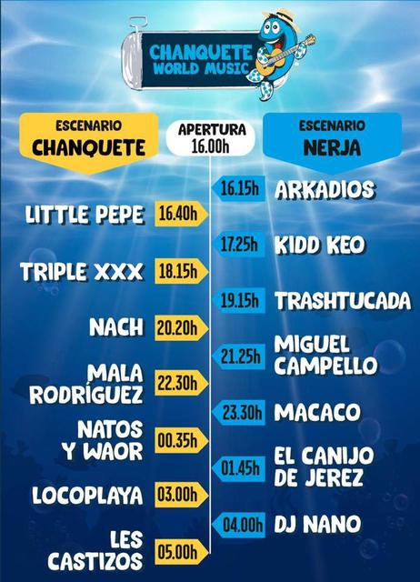 Horarios Chanquete World Music 2019