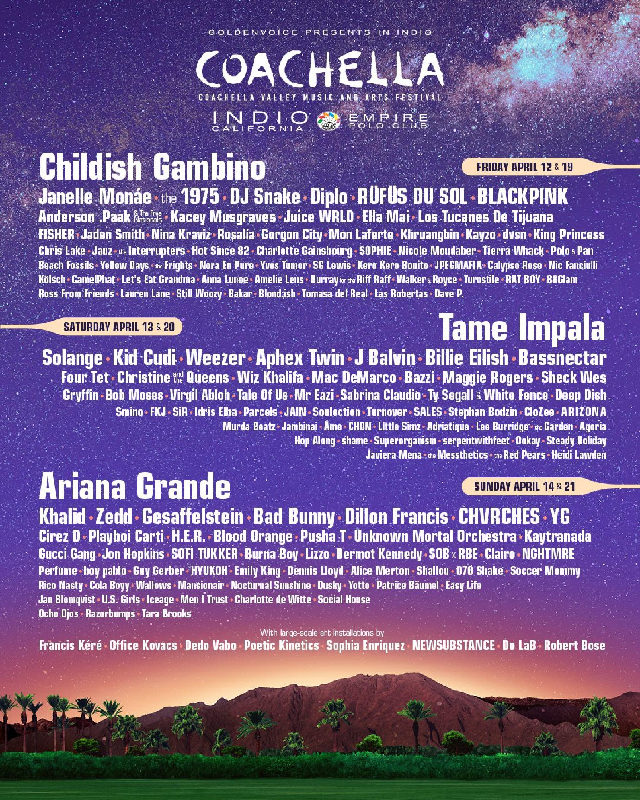 Line-up Coachella 2019