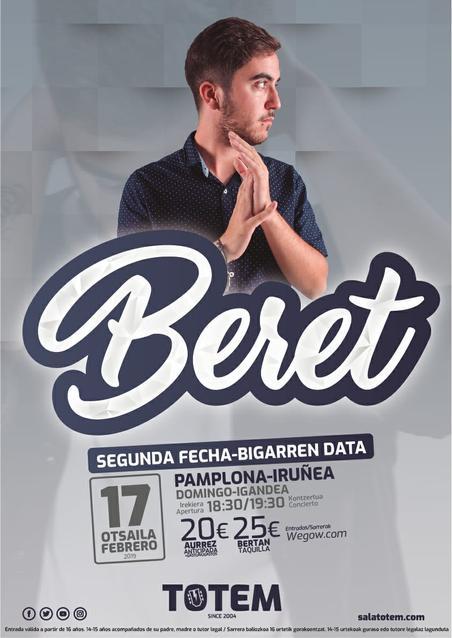 Beret estará actuando el 17 de Febrero Domingo en la Sala Totem de Pamplona