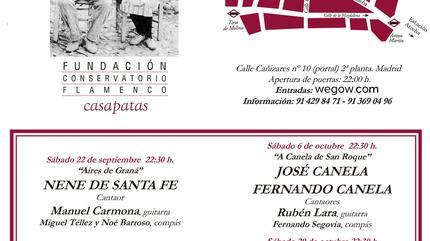 flyer programación ciclo sagas del cante 2018 sala garcía lorca fundación conservatorio flamenco casa patas madrid