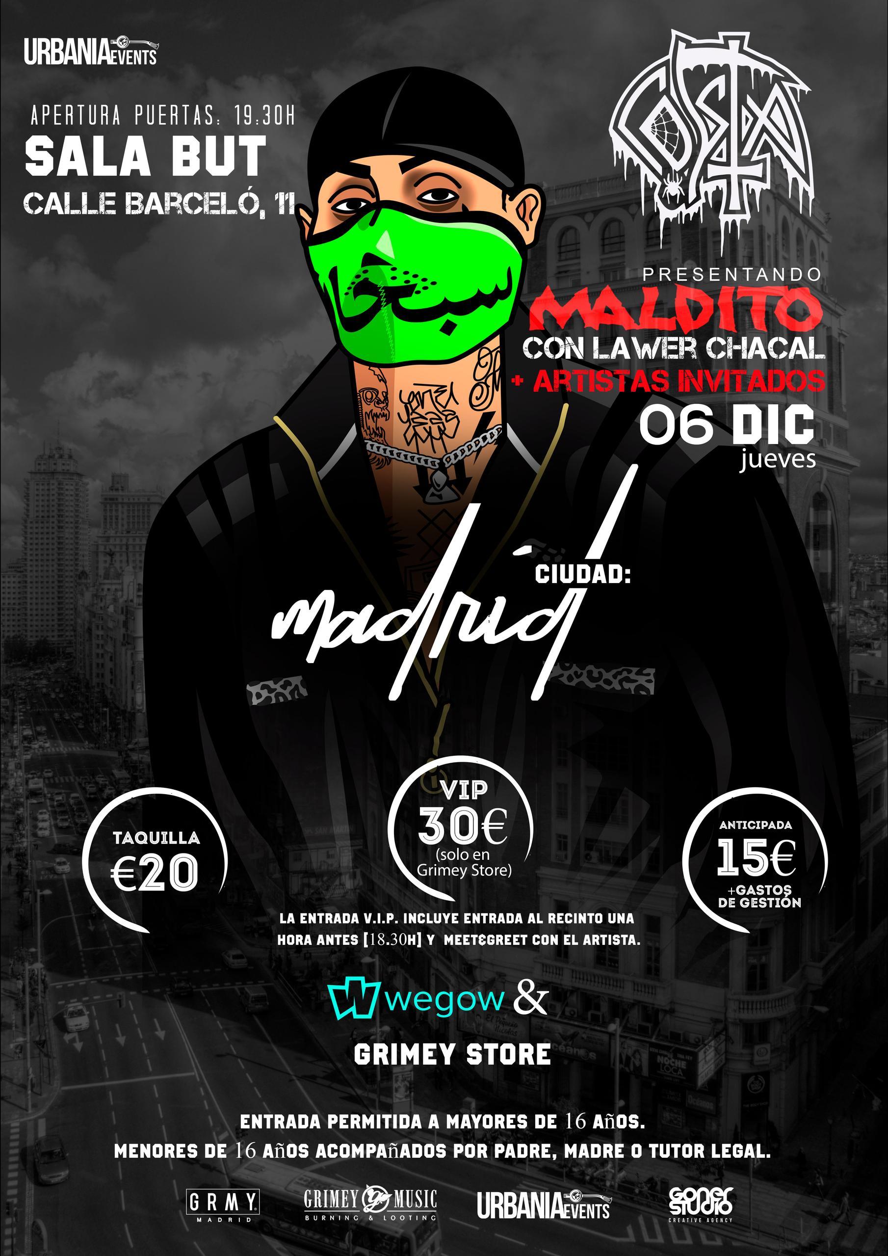 Concierto de Costa en la Sala But, Madrid, el Jueves 6 de Diciembre