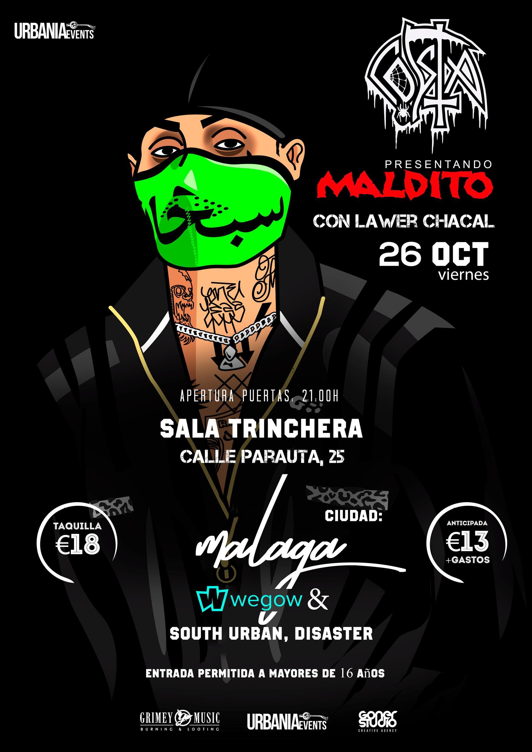 Costa actuará e la Sala Trinchera (Málaga), el Viernes 26 de Octubre a las 21,00 hrs.
