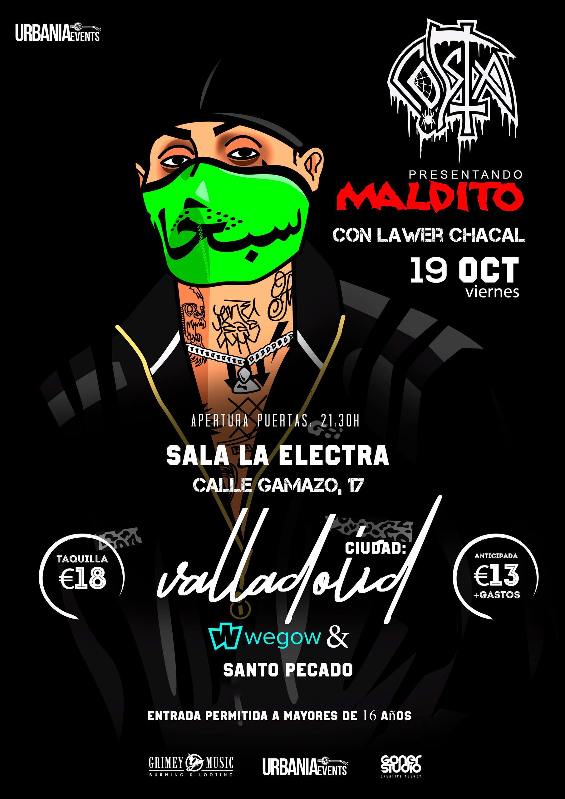 Concierto de Costa en la Sala Electra (Valladolid) el Viernes 19 de Octubre