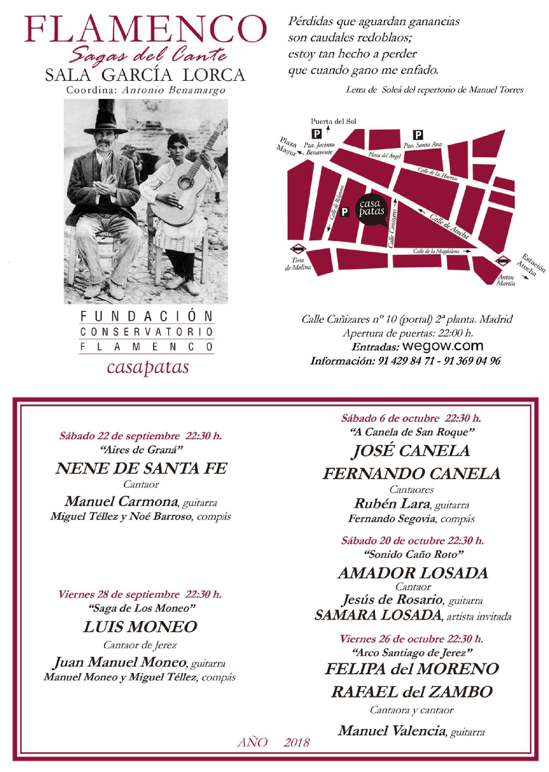 flyer ciclo sagas del cante 2018