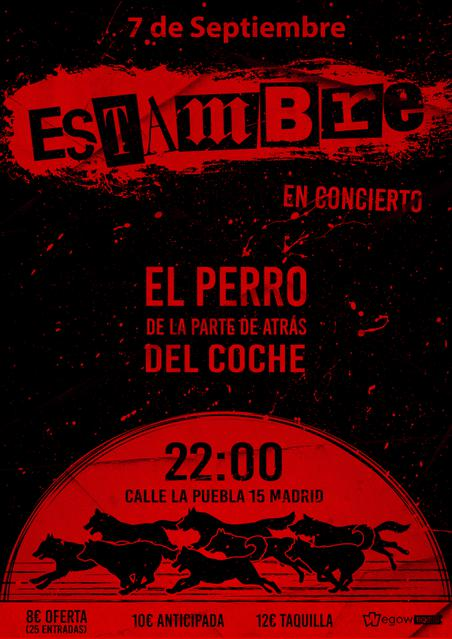 Cartel del concierto de Estambre el 7 de septiembre en la sala El Perro de la parte de atrás del coche