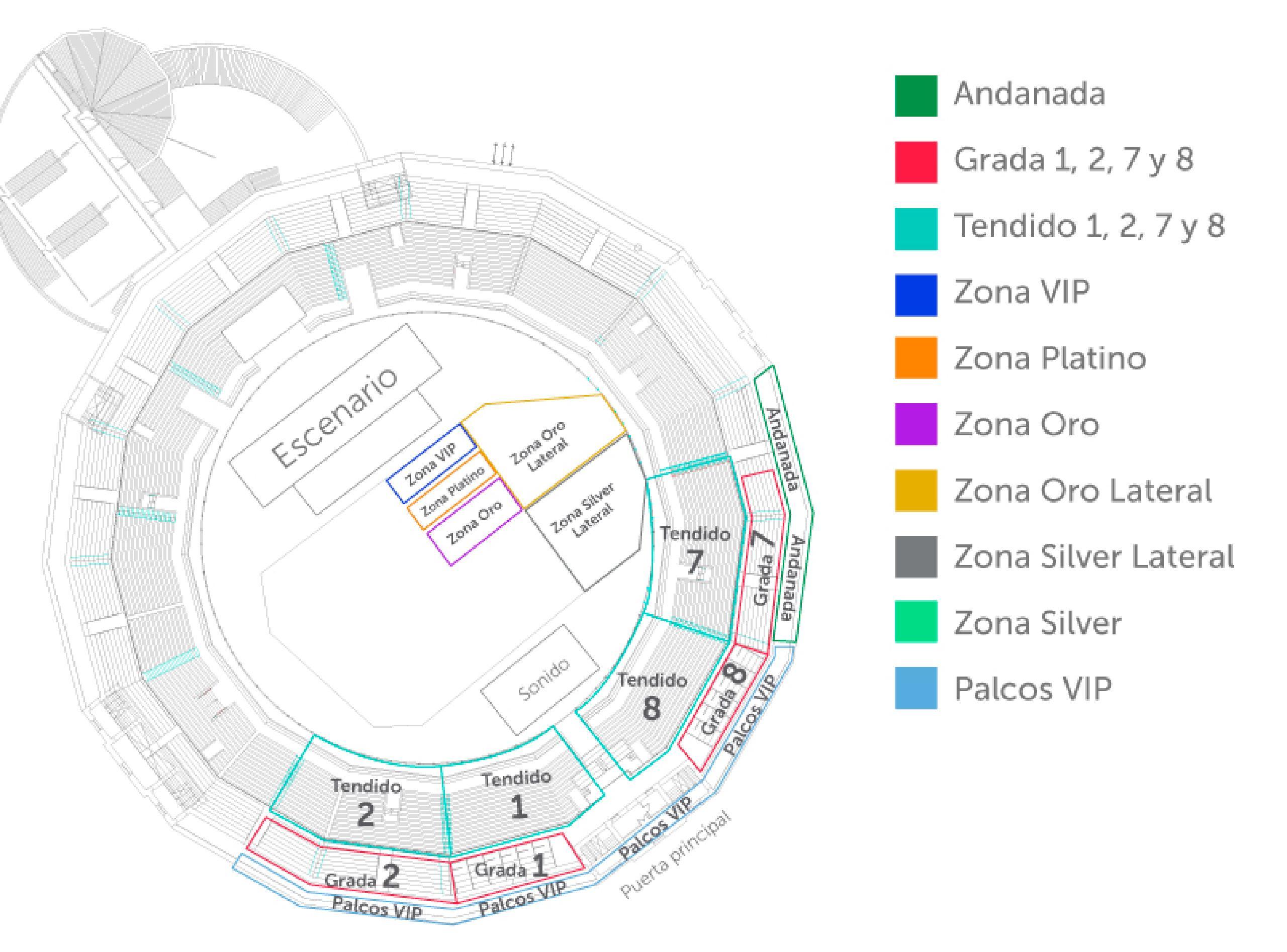 Mapa de las zonas de venta de entradas para el concierto de Il Divo en Almería el día 06 de Septiembre de 2018. En la plaza de toros de Almería.