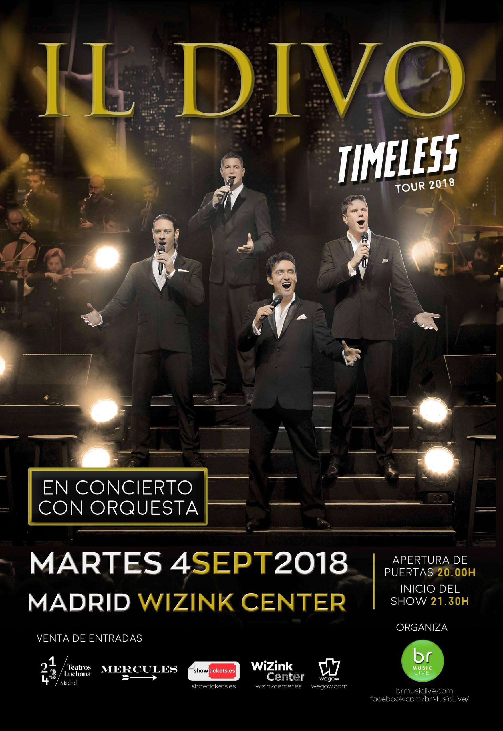 Cartel concierto Il Divo Madrid. Comprar entradas Il Divo en Madrid. Entradas Il Divo en España