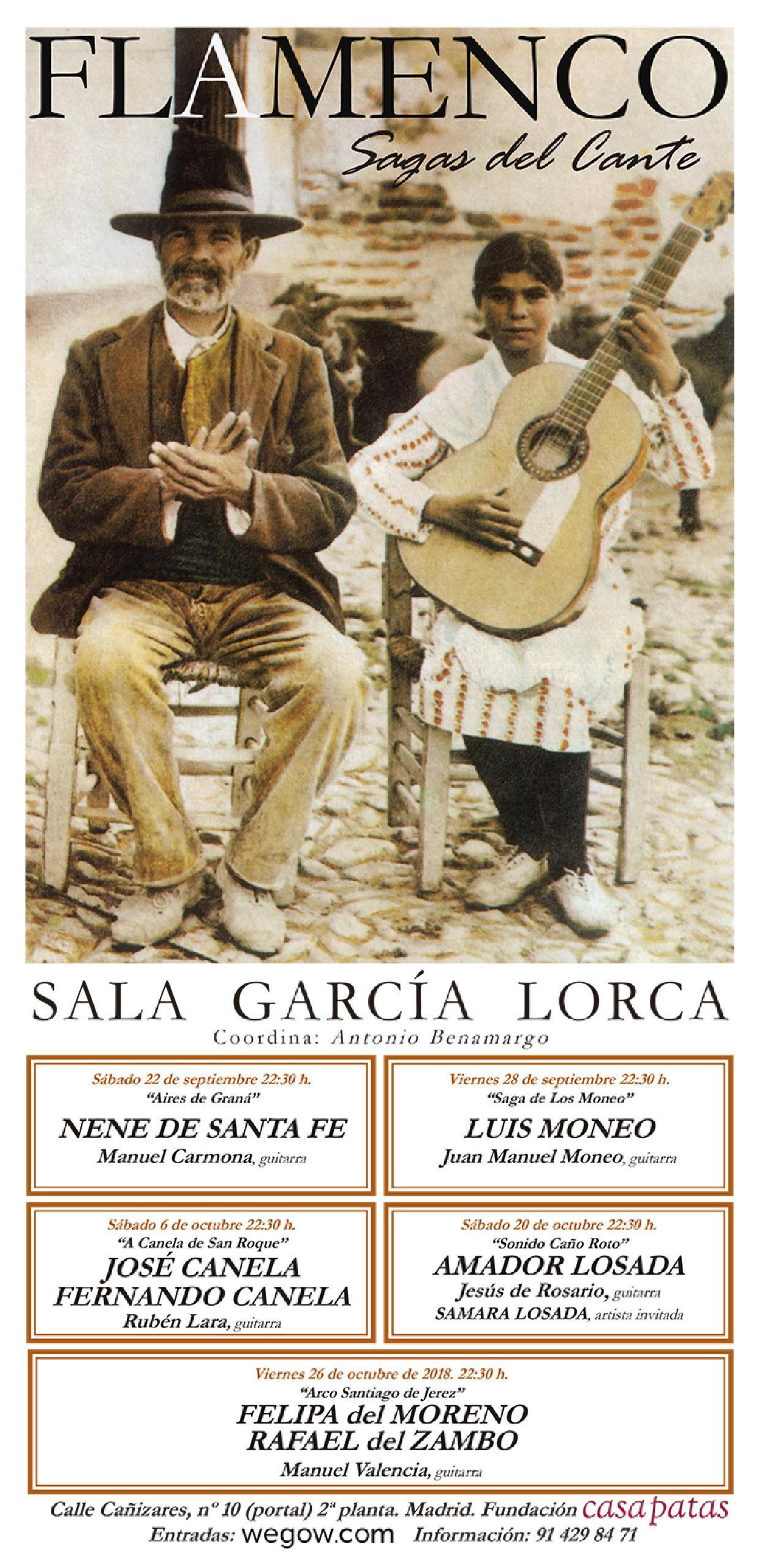 programación ciclo sagas del cante 2018 sala garcía lorca fundación conservatorio flamenco casa patas madrid
