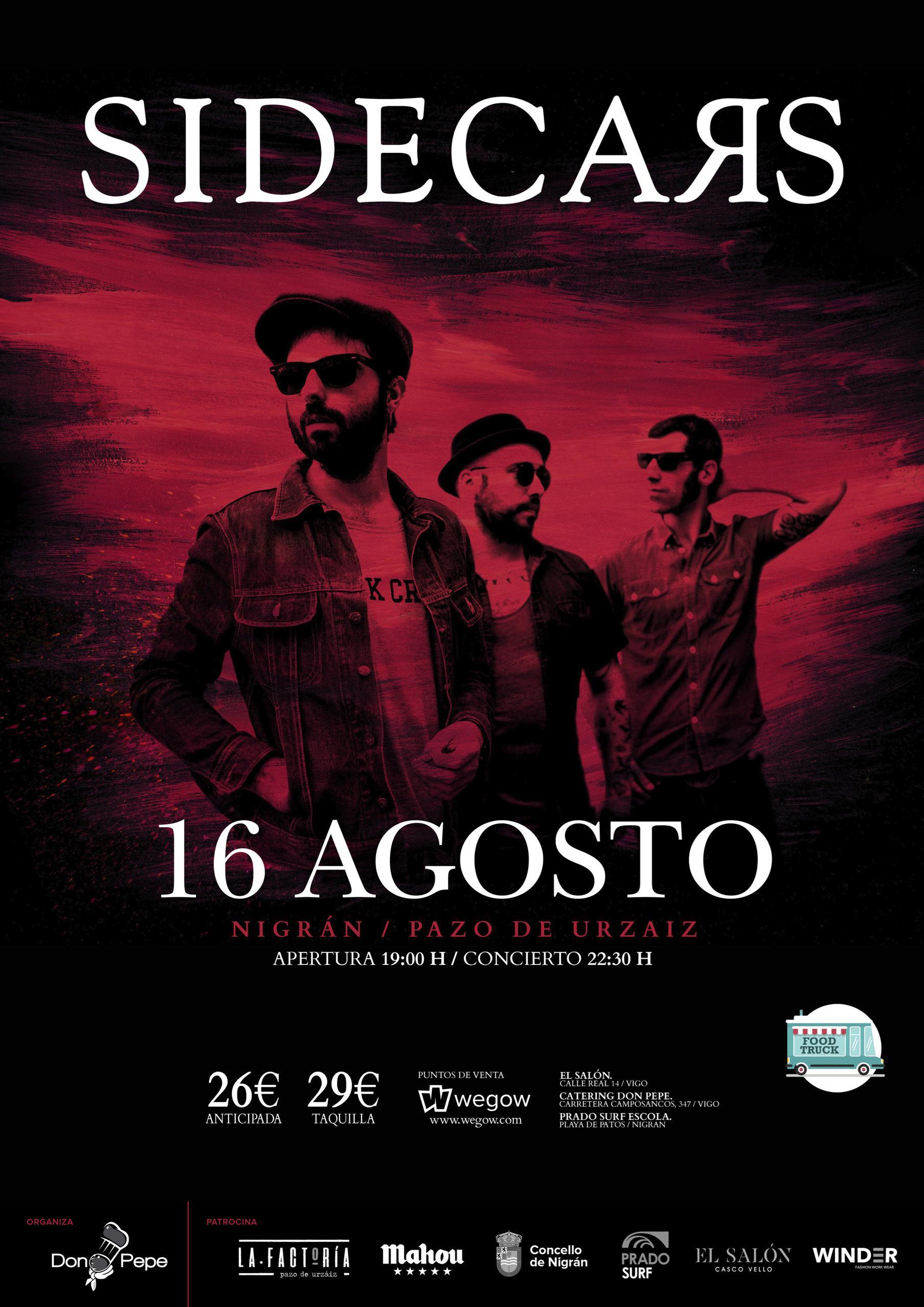 Cartel concierto SIDECARS en el Pazo de Urzáiz