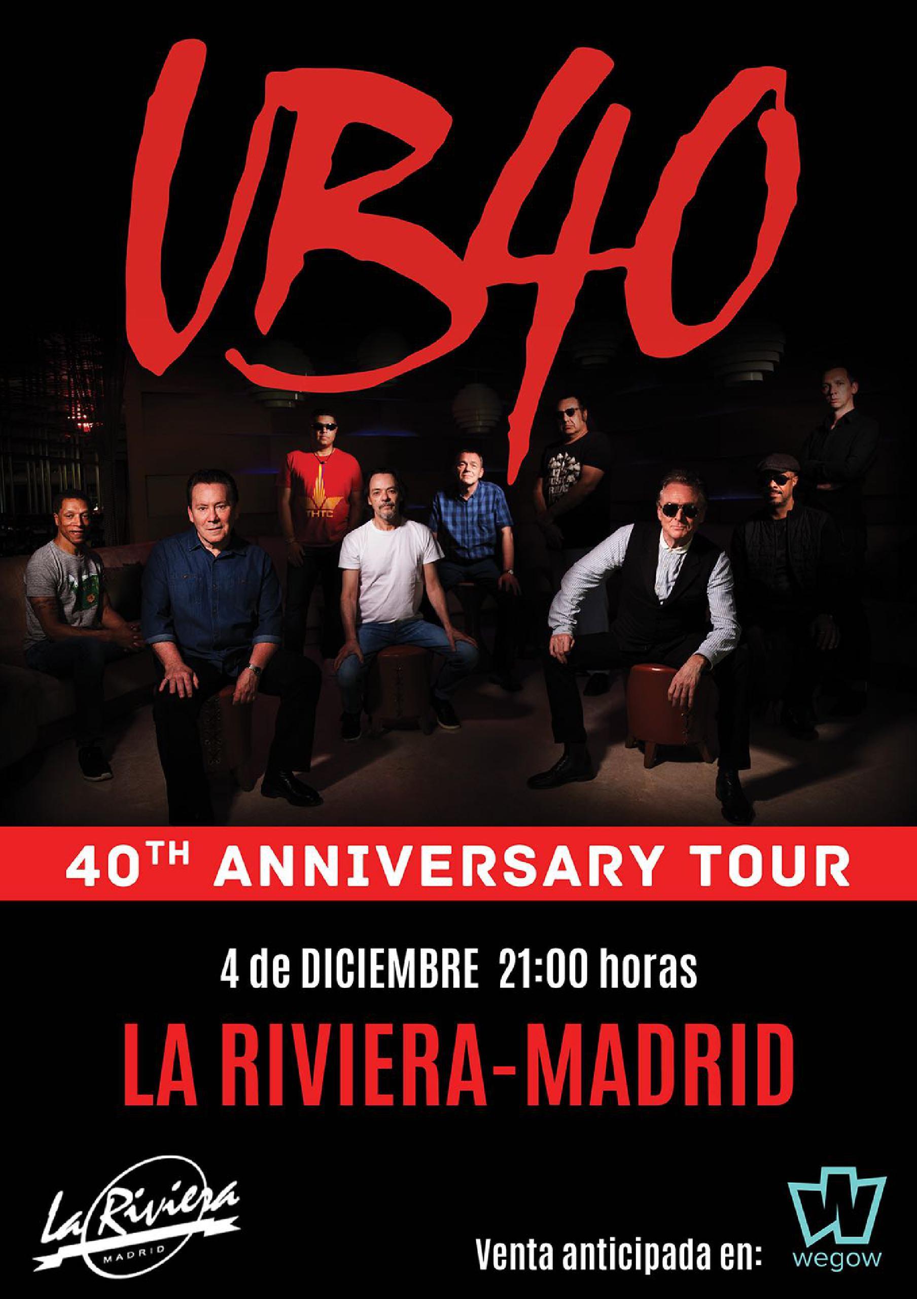 Cartel del concierto de UB40 en La Riviera en Madrid en diciembre de 2018.