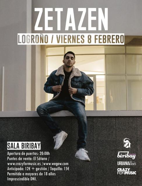 Zetazen estará actuando en la Sala Biribay de Logroño el Viernes 8 de Febrero.