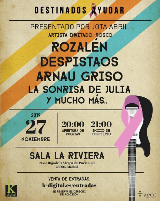 Cartel concierto Destinados a ayudar con Rozalén, Despistaos, Arnau Griso y La Sonrisa de Julia