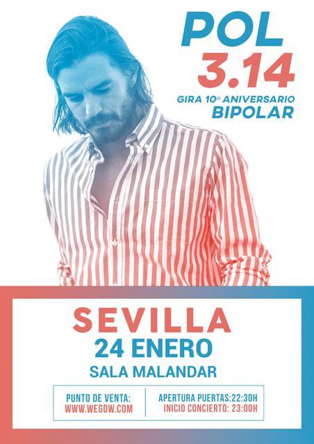 La gira 10º Aniversario BIPOLAR de Pol 3.14 tendrá en Sevilla una de sus paradas. La Sala Malandar será testigo de un concierto irrepetible.