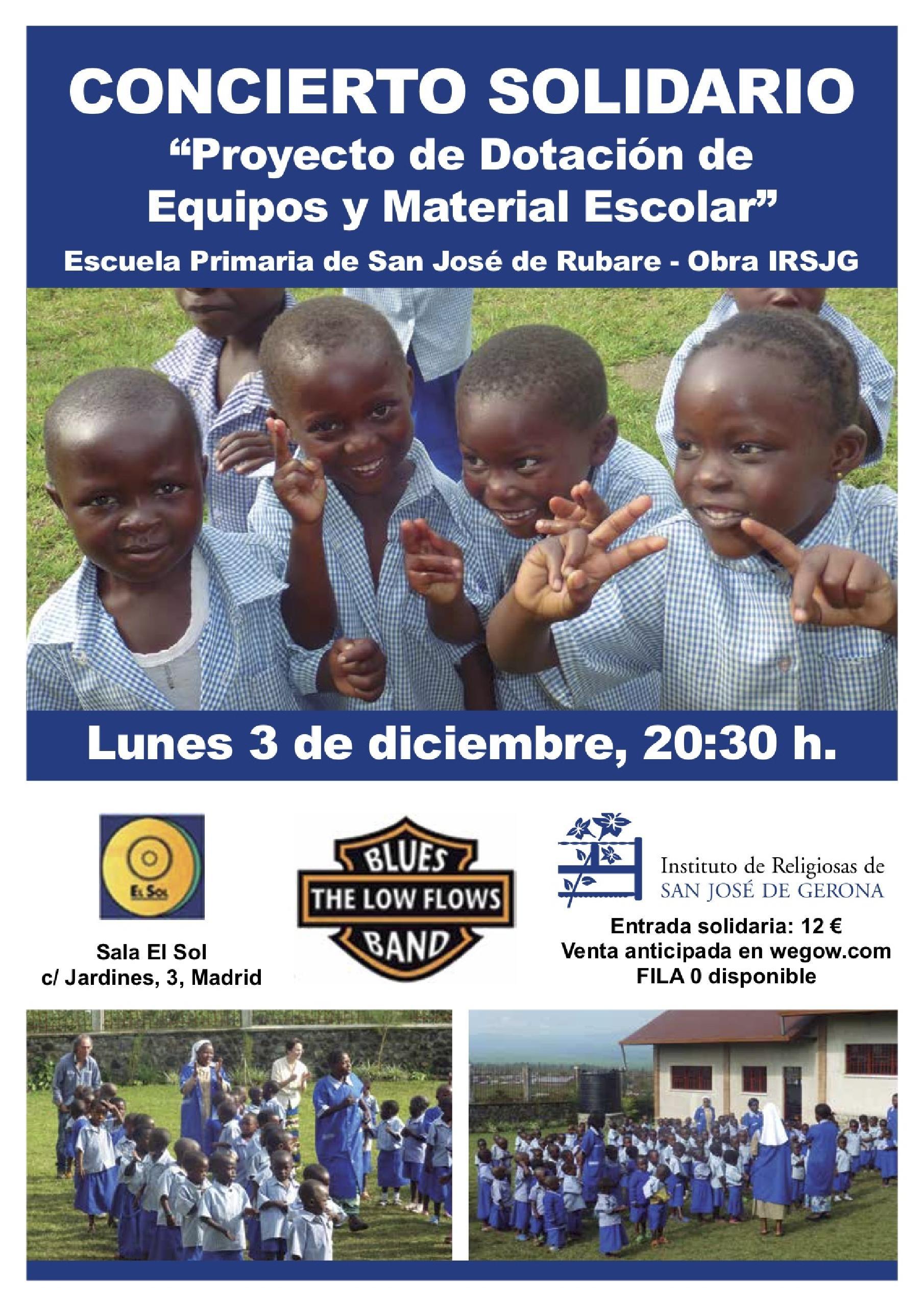 Concierto Solidario Clínica Santa Elena y Low Flows Blues Band para dotar de Equipos y Material Escolar a la Escuela de Primaria de San José de Rubare.