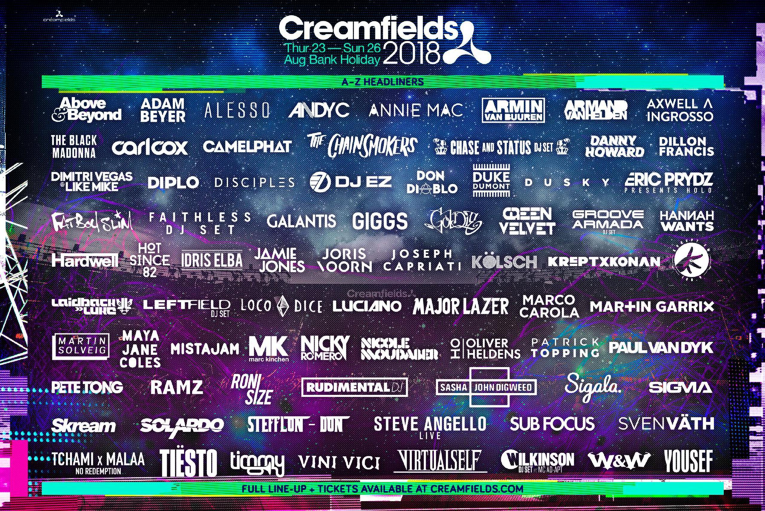 Creamfields Festival 2018 line-up