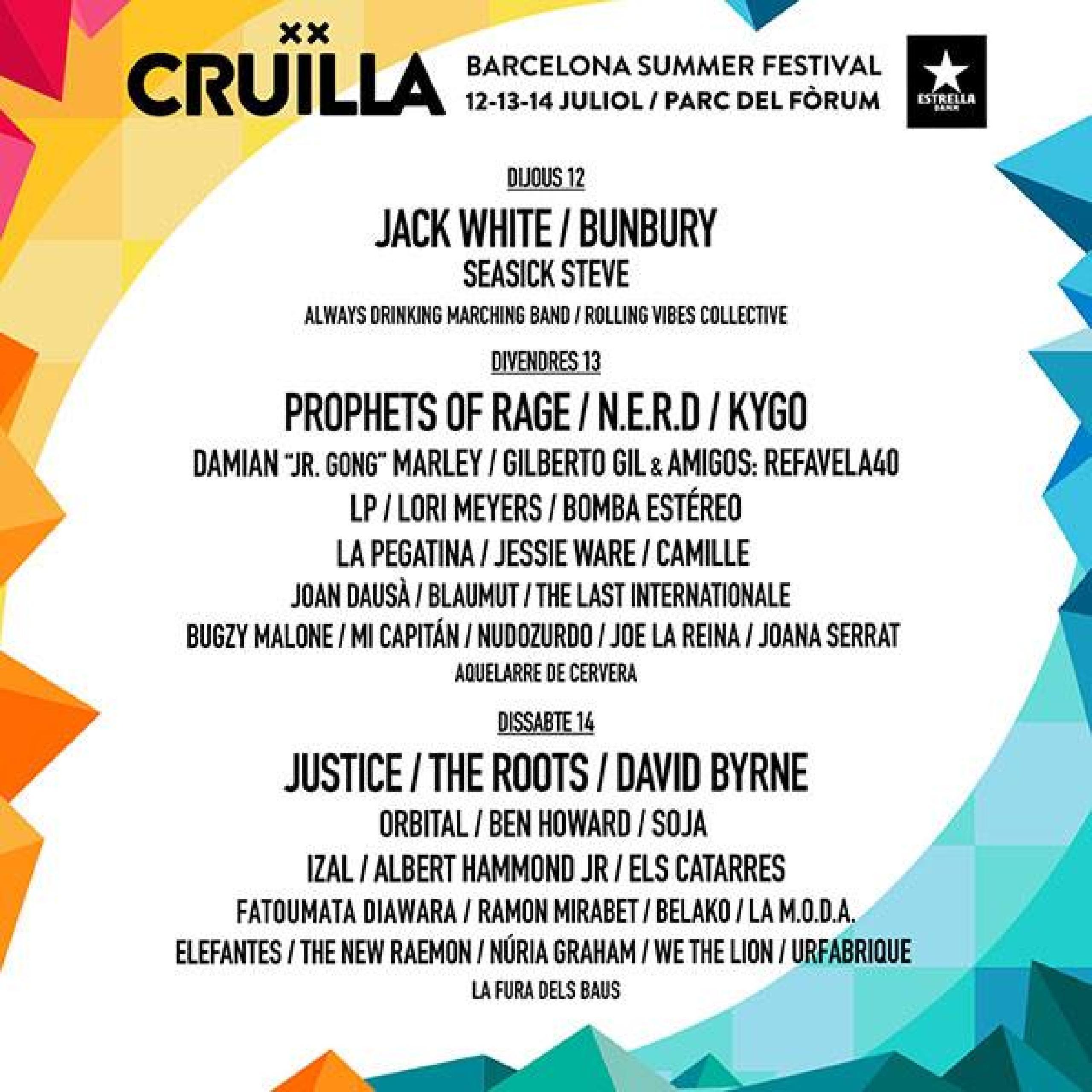 Cartel completo Festival Cruilla 2018 por días