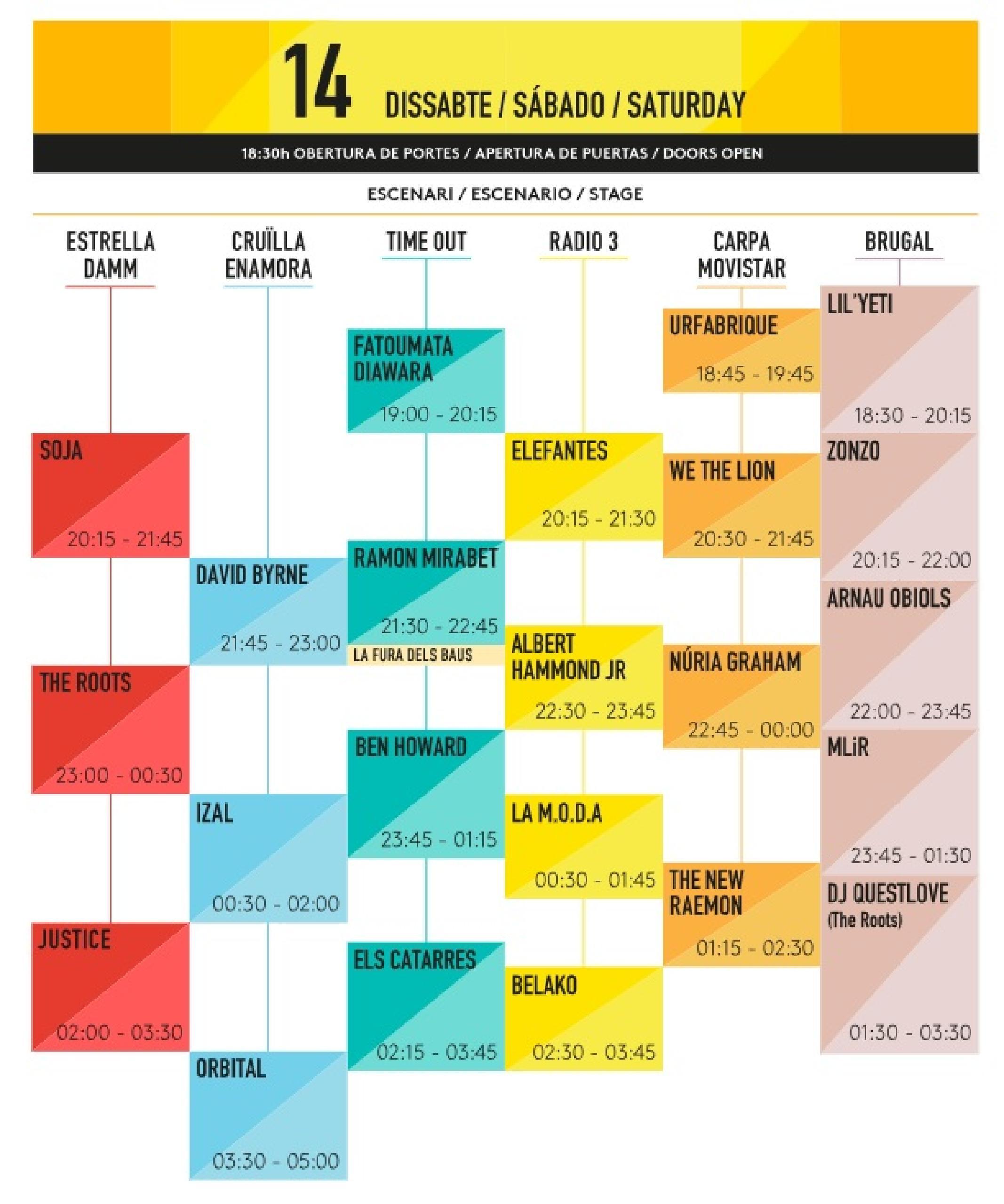 Horarios sábado Festival Cruilla 2018