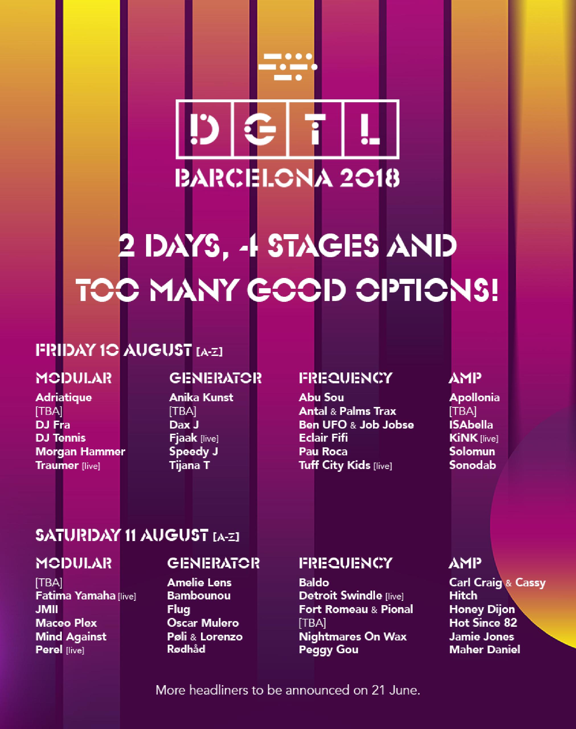 Cartel por días DGTL Barcelona 2018