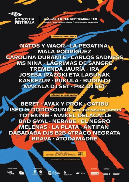 Cartel confirmacions Donostia Festibala 2019