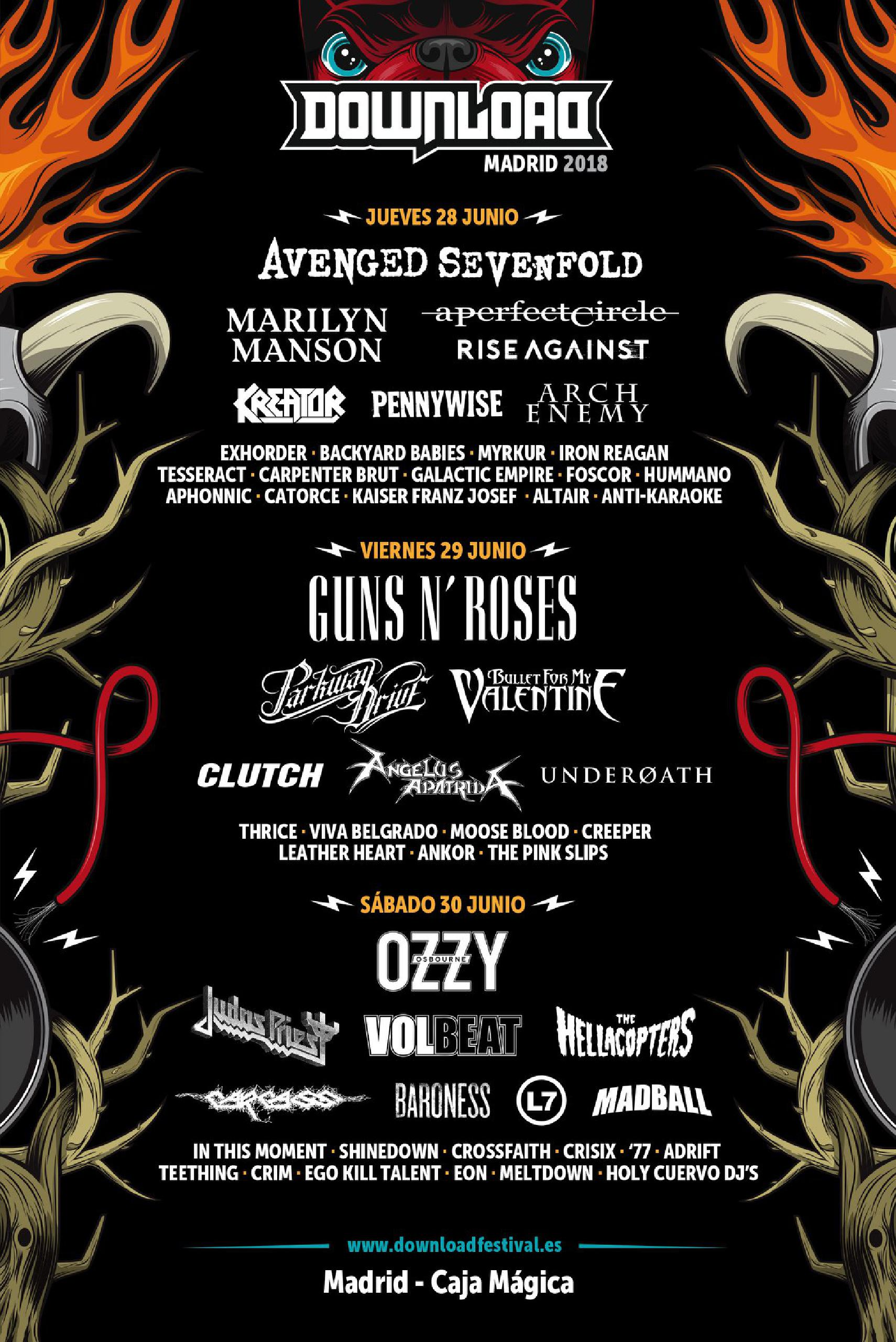 Cartel por días Download Festival Madrid 2018