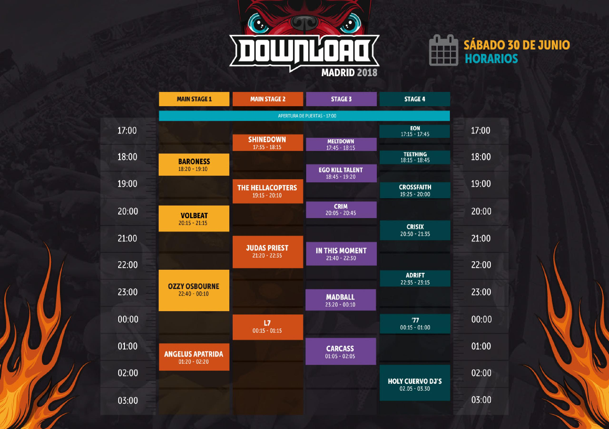 Horarios Download Madrid 2018 sábado