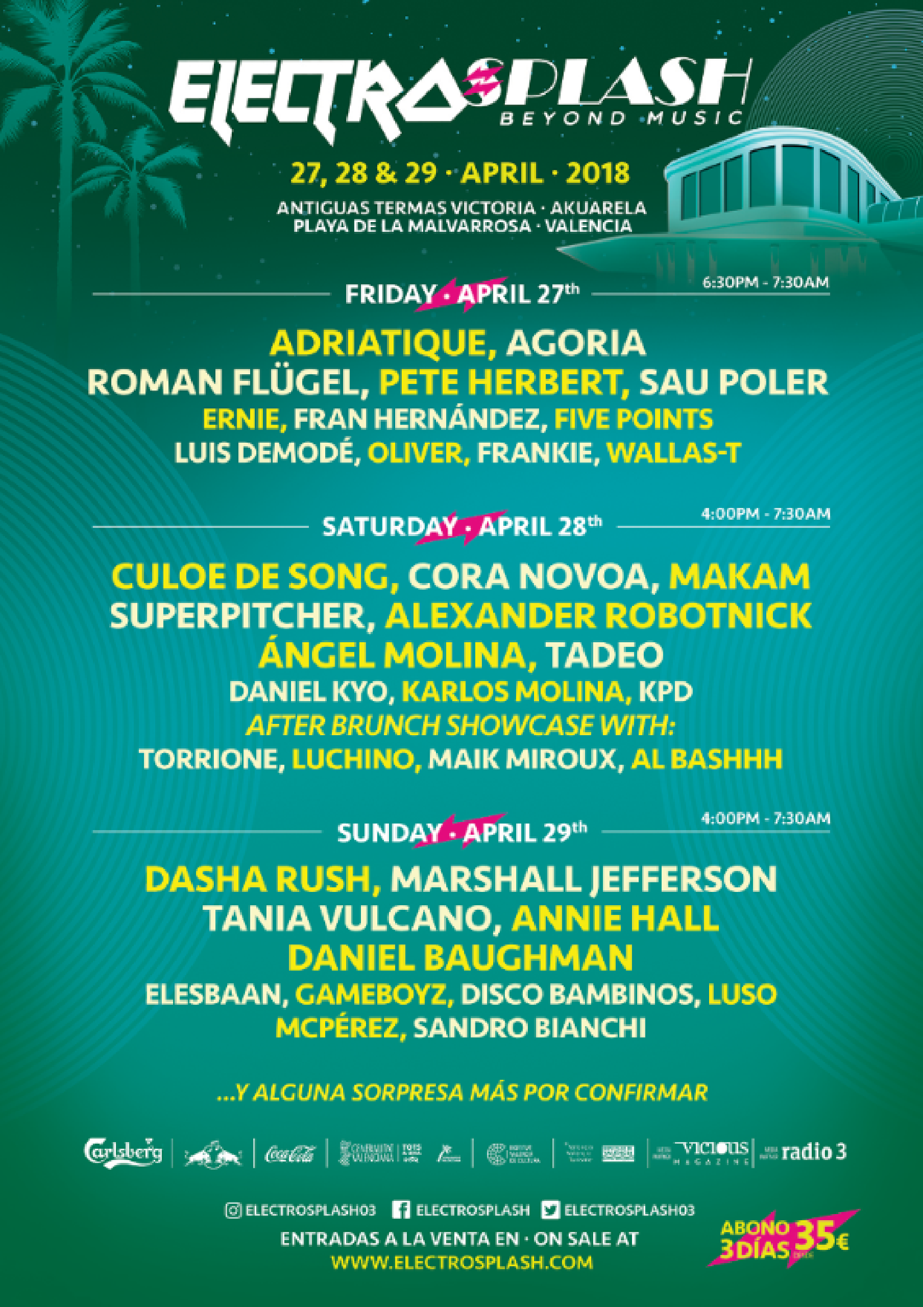 Cartel por días Electrosplash Festival 2018