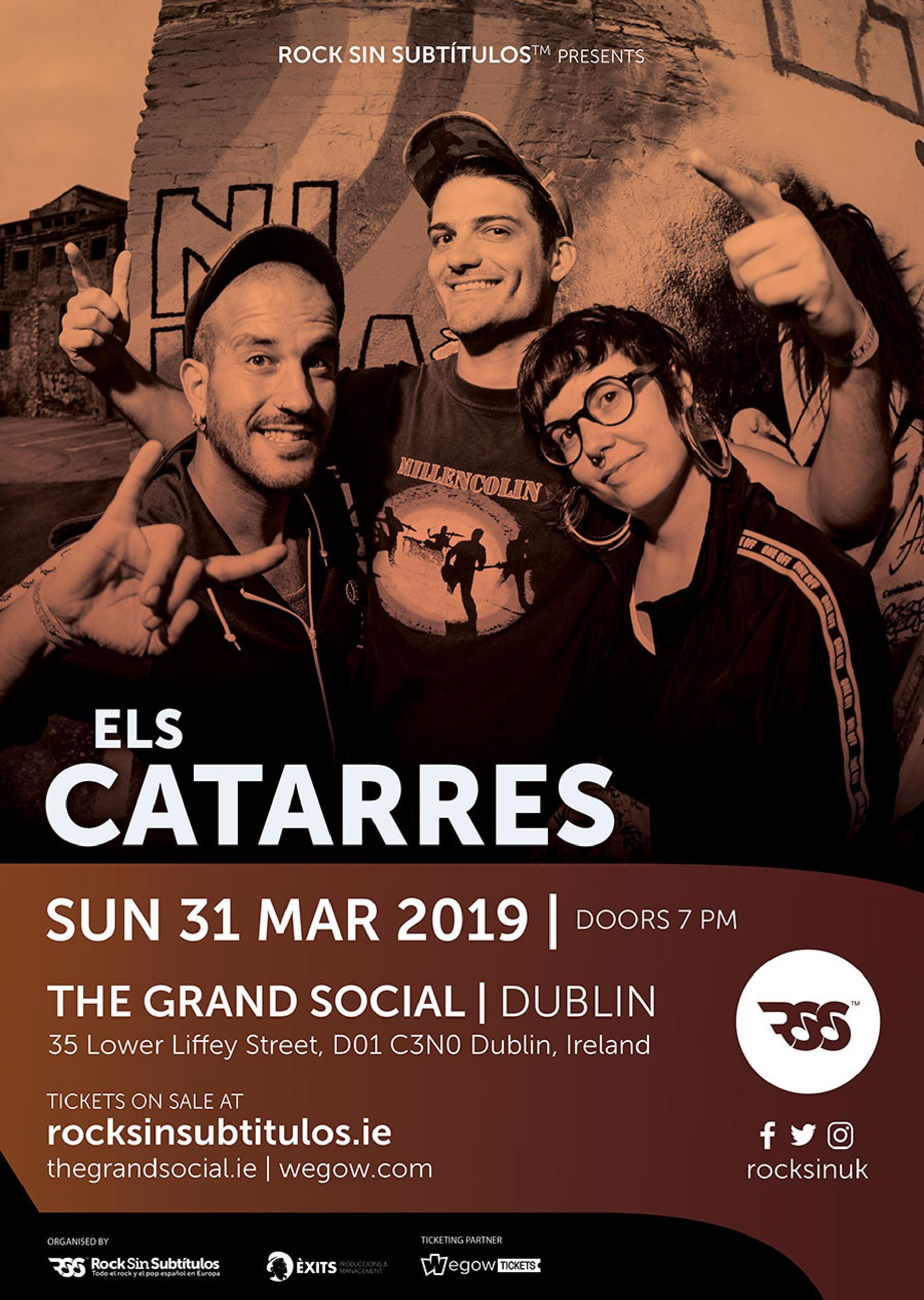 Domingo 31 marzo 2019 / 19 horas @ The Grand Social, Dublín