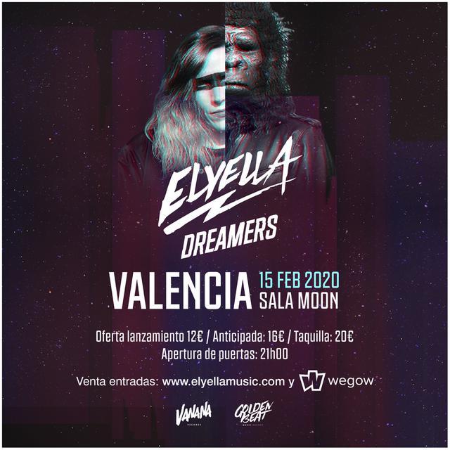 Cartel de la fecha de ELYELLA en vaLENCIA