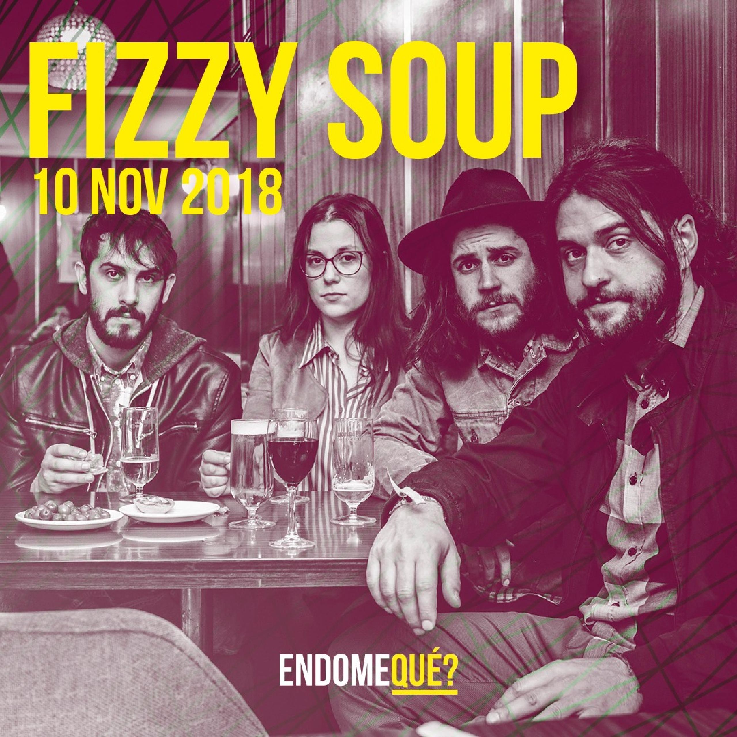 """Desayunan café y cenan sopa, ¡ellos son FIZZY SOUP! En los altavoces de su casa suena indie-folk, rock y soul con explosiones psicodélicas, pero su música se desvía hacia un sonido diferente, ellos buscan ir más lejos. Siguiendo una filosofía handmade, el grupo ha editado un LP (""""Wood Room"""", 2014) y un EP (""""We Do This"""", 2016).  En 2017 presentan un nuevo disco, """"Not so Far"""", un trabajo lleno de texturas muy difícil de etiquetar, siendo señalados como una de las mejores bandas emergentes del país. ¡No os los perdáis!"""