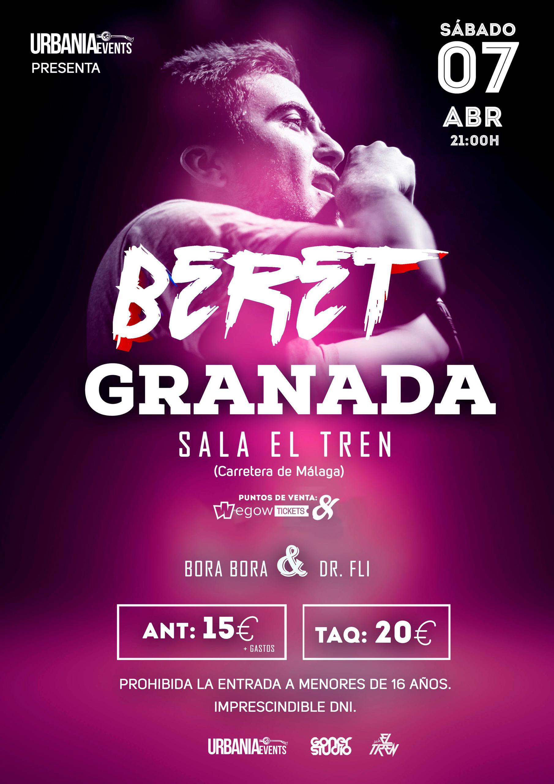 Concierto de Beret el Sábado 7 de Abril en la Sala El Tren de Granada.