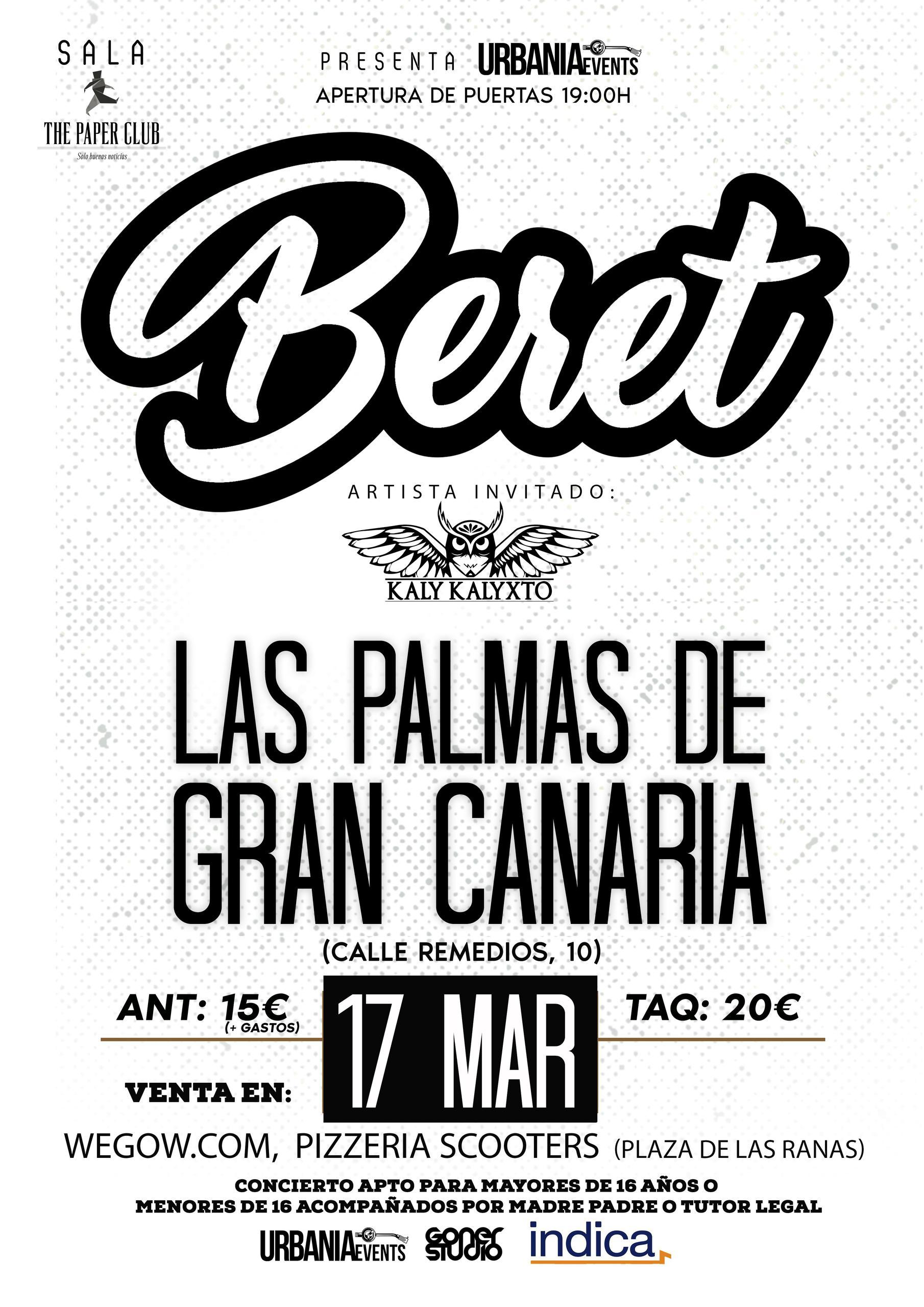Concierto de Beret en la Sala Aguere Espacio Cultural (Las Palmas de Gran Canaria)