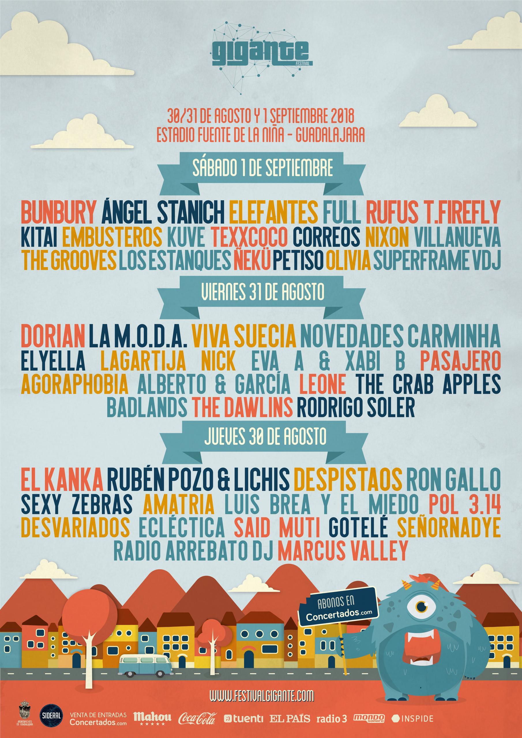 Festival Gigante 2018 Cartel por días