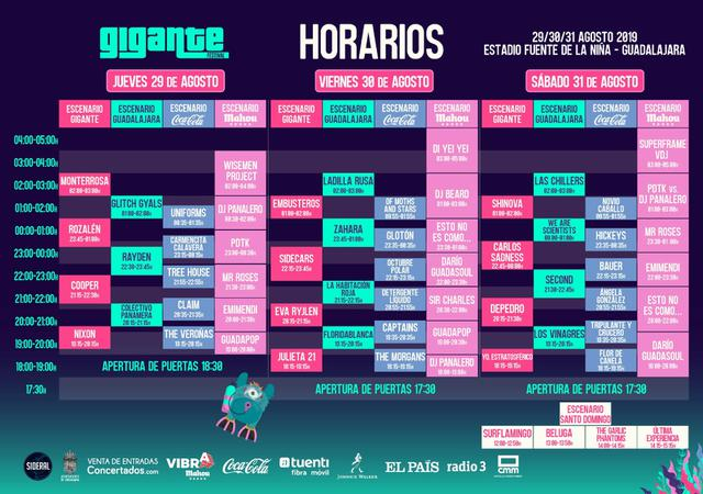 Horarios Festival Gigante 2019