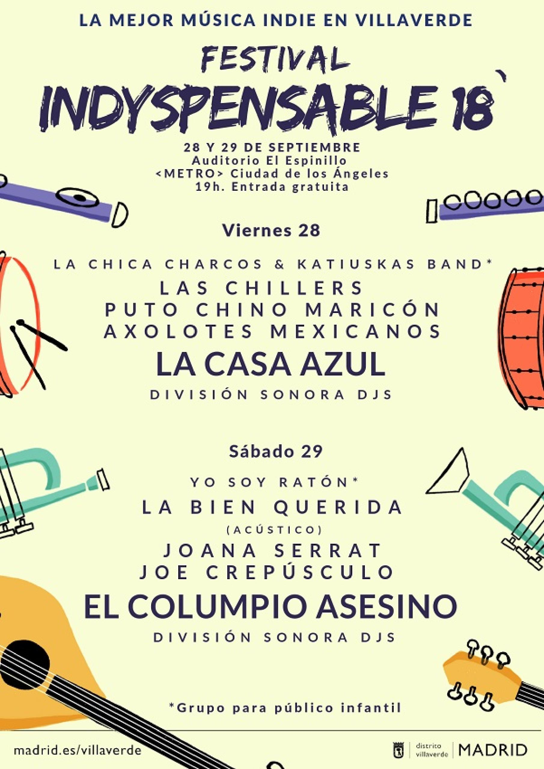 Cartel confirmaciones festival indyspensable 18