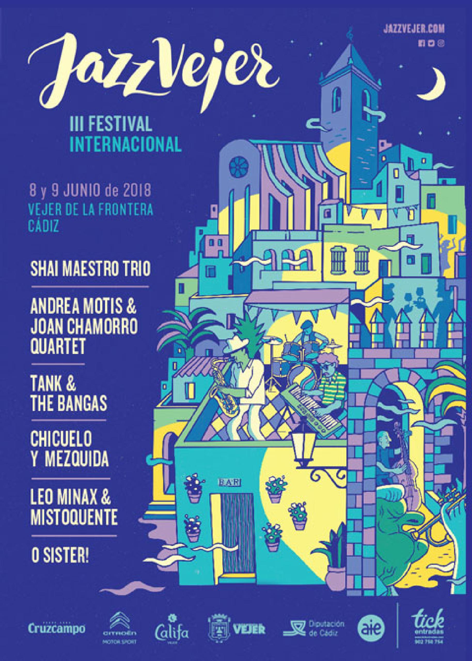 Cartel programación artistas conciertos Festival Jazz Vejer 2018