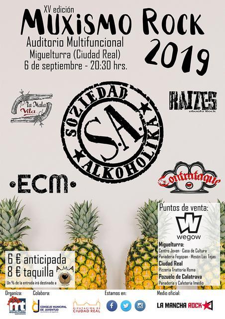 Cartel del XV Muxismo Rock 2019 que se celebrará el 6 de septiembre de 2019 en Miguelturra (Ciudad Real)
